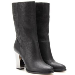 Jimmy Choo Dark Gray Music Pebbled Leather Bootie